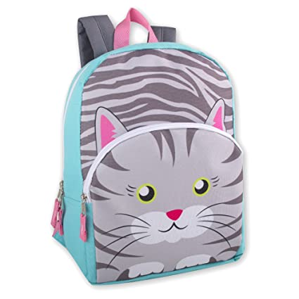 Amazon.com   Kids Animal Friends Critter Backpacks For Boys   Girls With  Reinforced Straps (CAT)   Kids  Backpacks 9101ddbe34