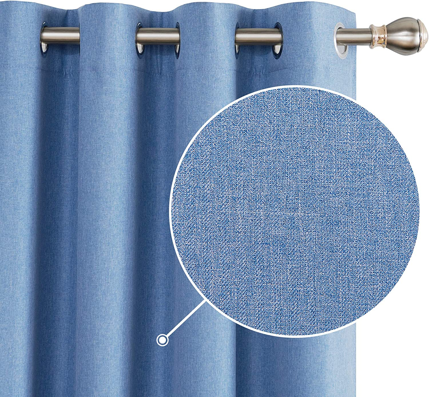 """Deconovo 100% Blackout Curtains Thermal Insulated Faux Linen Blackout Curtains for Nursery 46 x 54 Inch BlueTwo Panels 2x W46""""xL54"""" Blue"""