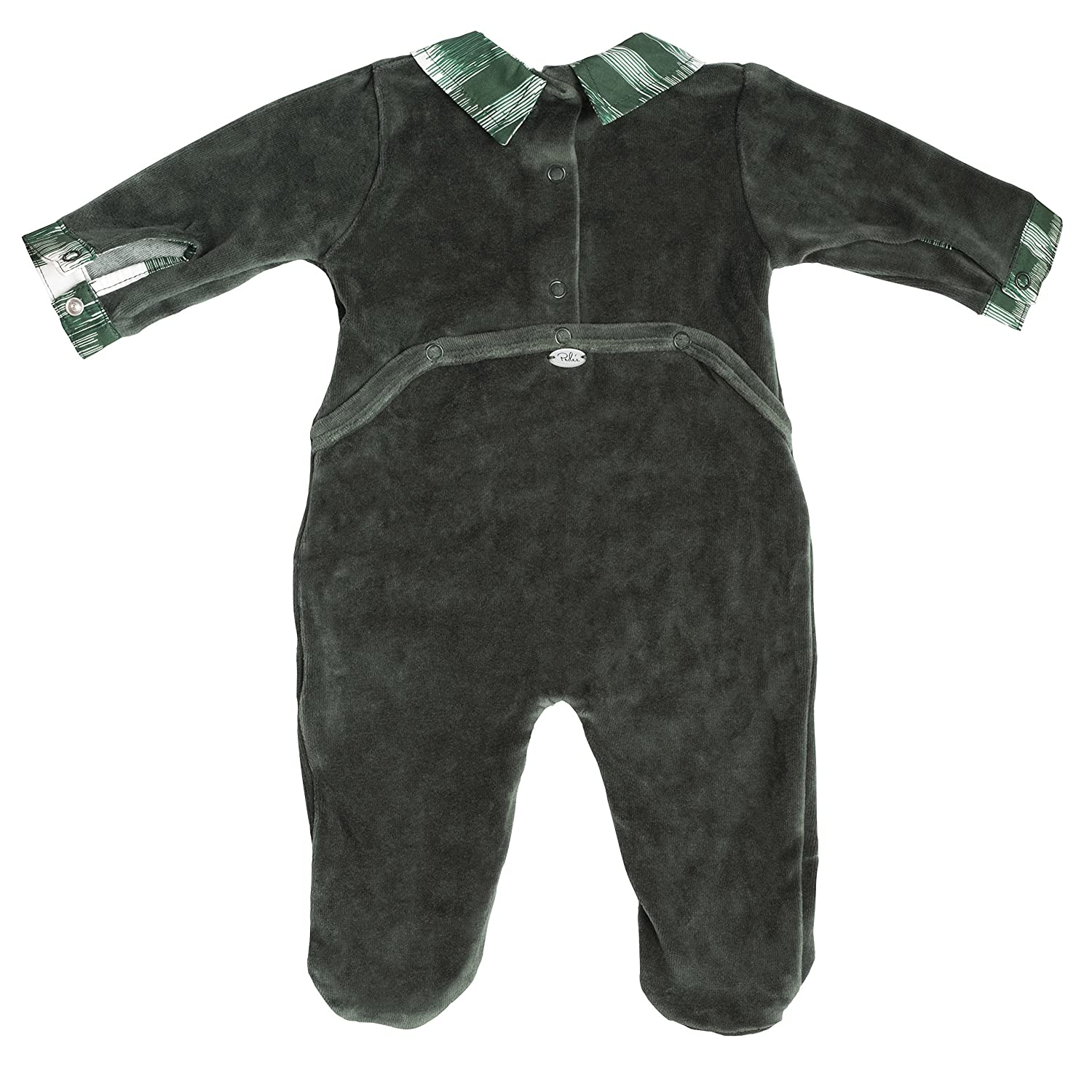 Baby Footie Green Velour with Plaid Trim Footed Onesie Jack /& Jill Romper for Baby Boys