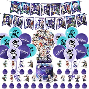 92 Pcs Genshin Impact Party Supplies, Anime Games Merch Party Decorations for Kids Adults with Happy Birthday Banner Cake Topper Cupcake Toppers Balloons Stickers