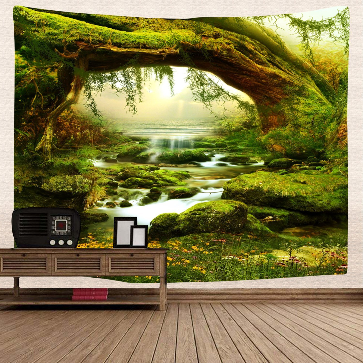Tapestry Wall Tapestry Wall Hanging Nature Green Tree Jungle Landscape Tapestry Jungle and Streams Tapestry Mysterious Wall Tapestry for Bedroom Dorm Decor