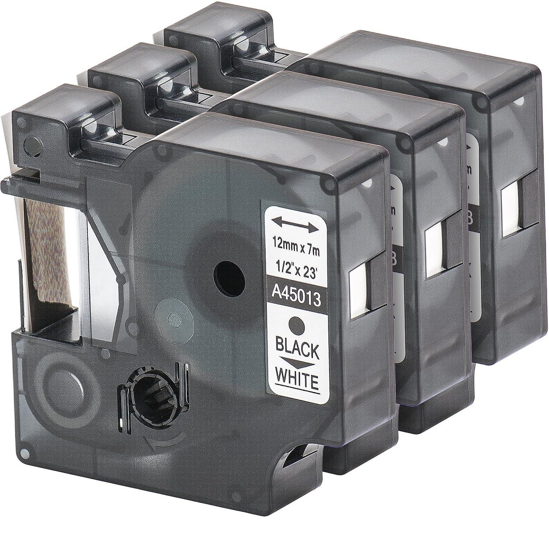 3x Nastro Tape Cartridge compatibile con Dymo 45013 D1 in bianco e nero 12 millimetri x 7m per LabelManager LabelPoint LabelWriter ad esempio, per DYMO LabelPOINT & LabelManager LM100 / LM120P / LM150 / LM160 / LMPC2 / LM200 / LM210D / LM220P / LM260 /
