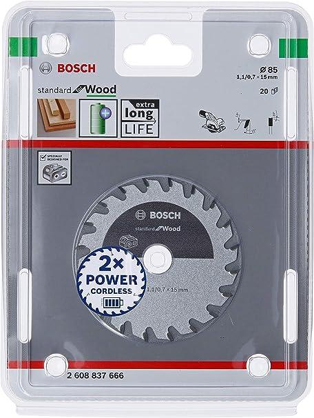 Optimiert für Akku für Holz 20 Zähne Bosch Professional 85 mm Kreissägeblatt