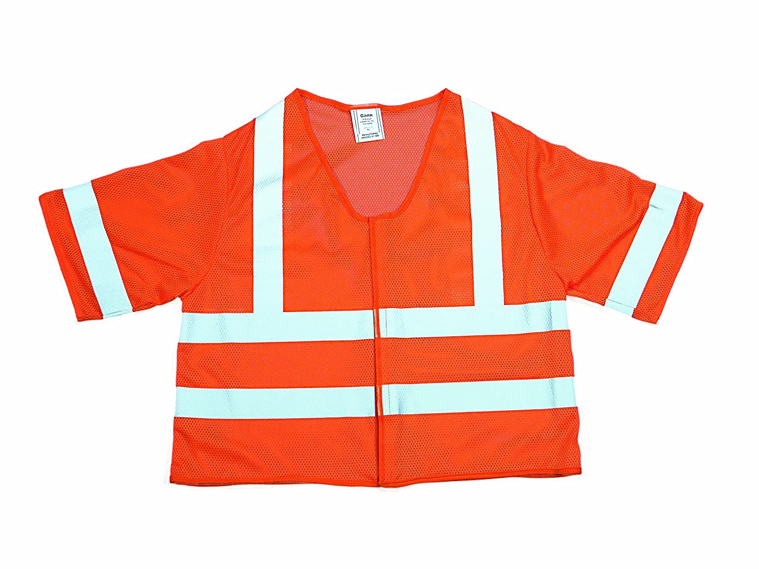 3X-Large Orange Mutual 16362 High Visibility Polyester ANSI Class 3 Mesh Safety Vest with 2 Silver Reflective Stripes