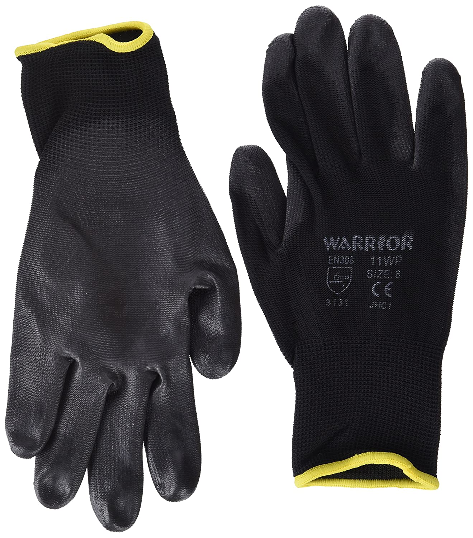 Warrior  Work Gloves, NB8/M (Size 8/Medium) Black- Set of 12 NB8/M X12