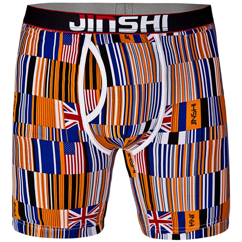 Js-407 JINSHI Herren Boxershorts Lang Unterhose Bunt Retroshorts