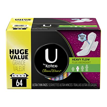 U by Kotex Cleanwear Ultra Thin Pads with Wings, Heavy Flow, 64 Count (