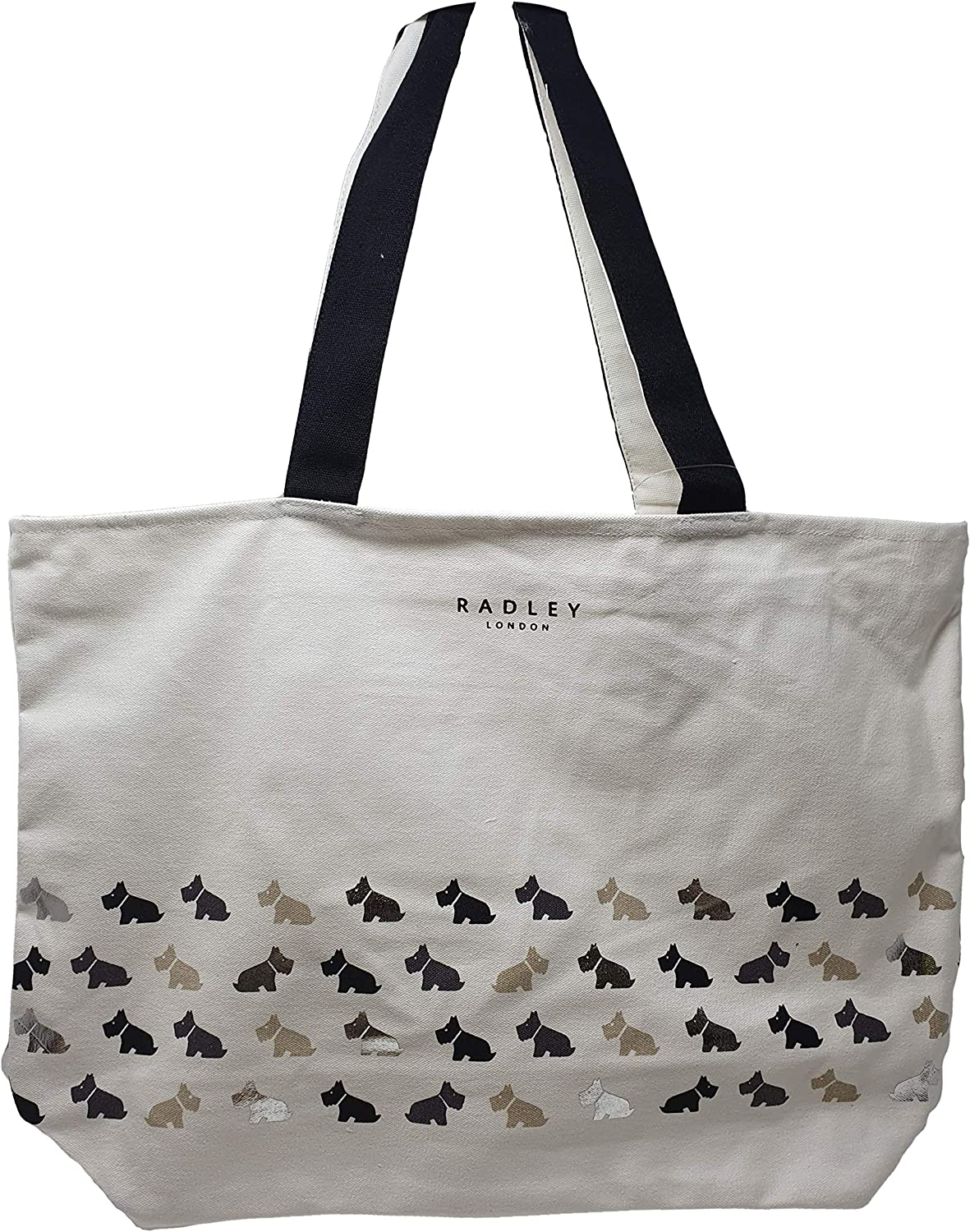 Radley Large zip top Multi Dog Tote shopper bag in black and silver canvas