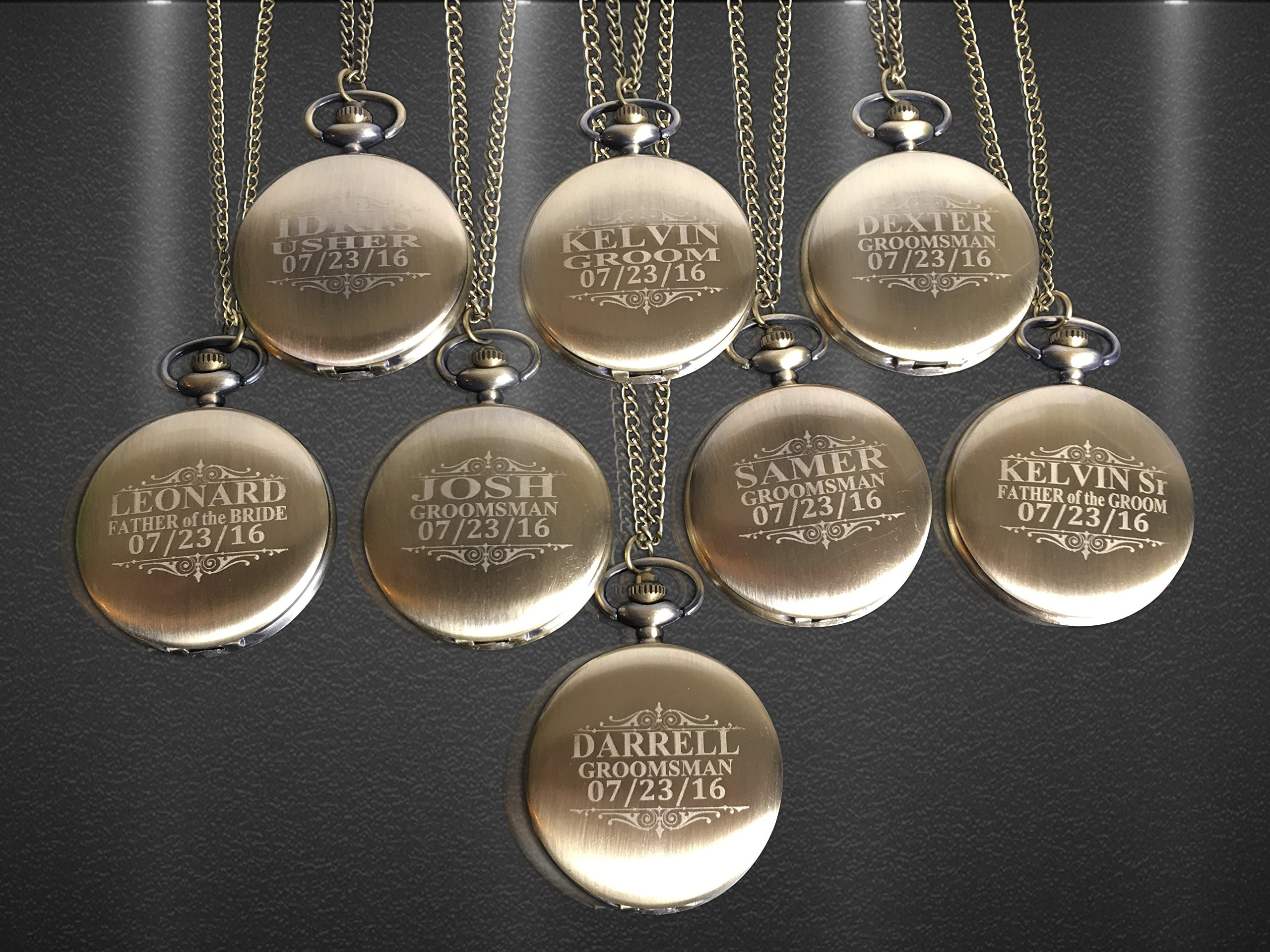 Vintage Pocket watch set of 8, Custom engraved Groomsmen pocket watches. Boxes included, chain and engraving is included.