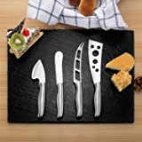 YINENN 16 x 12 Inch Slate Cheese Board Set with 4 Forged Stainless Steel Cheese Knives