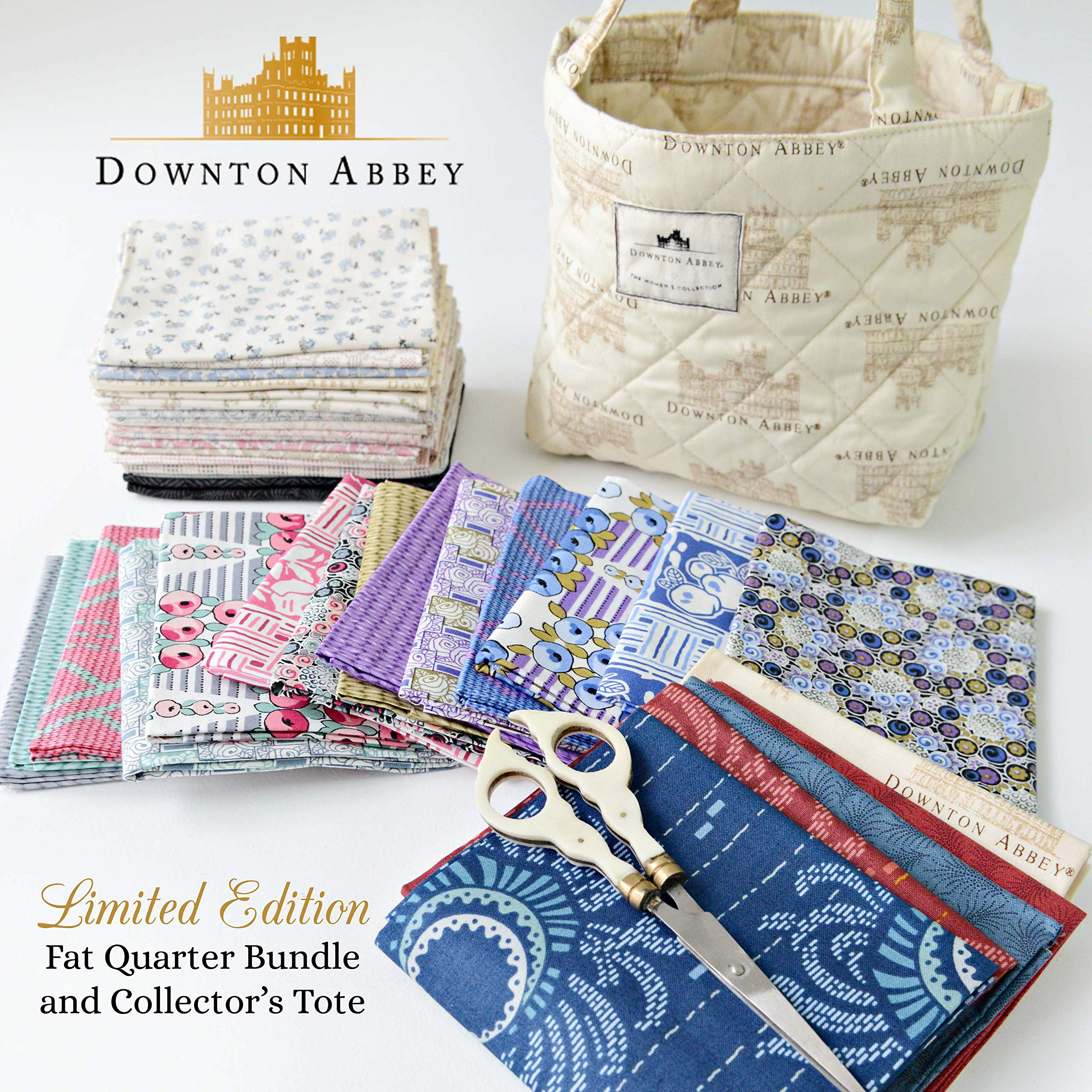 Kathy Hall Downton Abbey 2 Limited Edition Quilted Tote and 38 Fat Quarter Bundle Andover Fabrics by Andover Fabrics