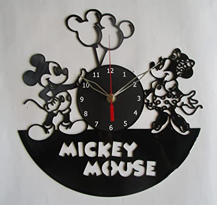 Mickey Mouse and Minnie Mouse Disney Vinyl Clock Record Wall Clock Handmade Fan Art Decor Unique