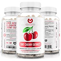 Tart Cherry Capsules - Max Strength 3000mg | 6 Month Supply - Advanced Uric Acid Cleanse, Powerful Antioixidant w/Joint Support - 180 Vegetable Capules.
