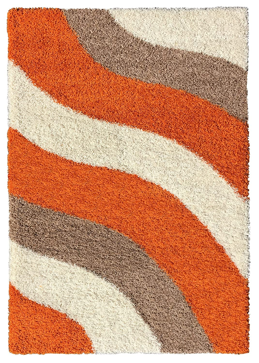 amazoncom soft shag area rug 3x5 geometric striped orange ivory grey shaggy rug area rugs for living room bedroom kitchen decorative modern