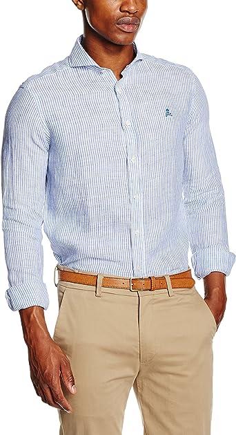 Scalpers HAKON Shirt 02 Camisa, Blue, 38 para Hombre: Amazon ...
