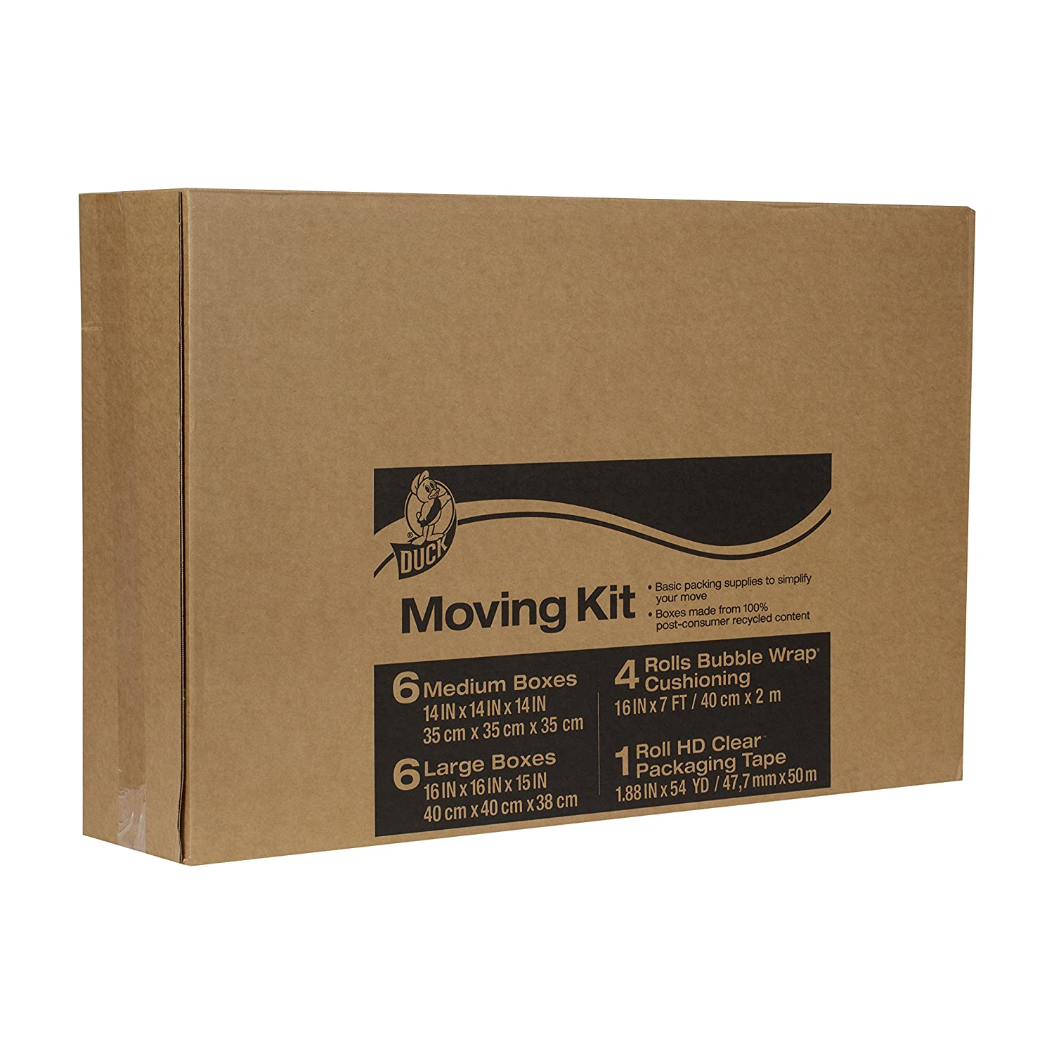 amazon com duck brand moving kit with 12 boxes 4 rolls bubble