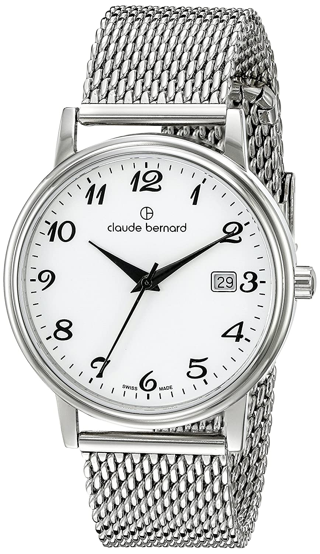 Claude Bernard Classic Herrenuhr Analog Quartz Leder Silber 53007-3M-BB