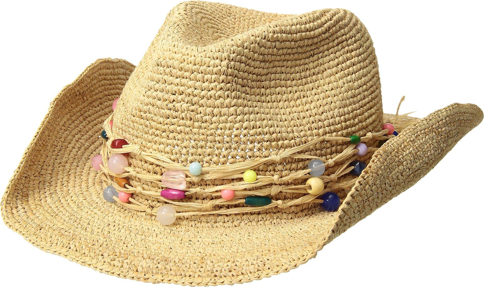 Hat Attack Women's Raffia Crochet Cowgirl w/Multi Stone Trim Natural/Multi One Size by Hat Attack