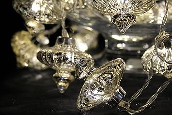Fairy Lights, Kasbah Glass Lantern Light Chain in silver - Mains Powered, Decorative  lights