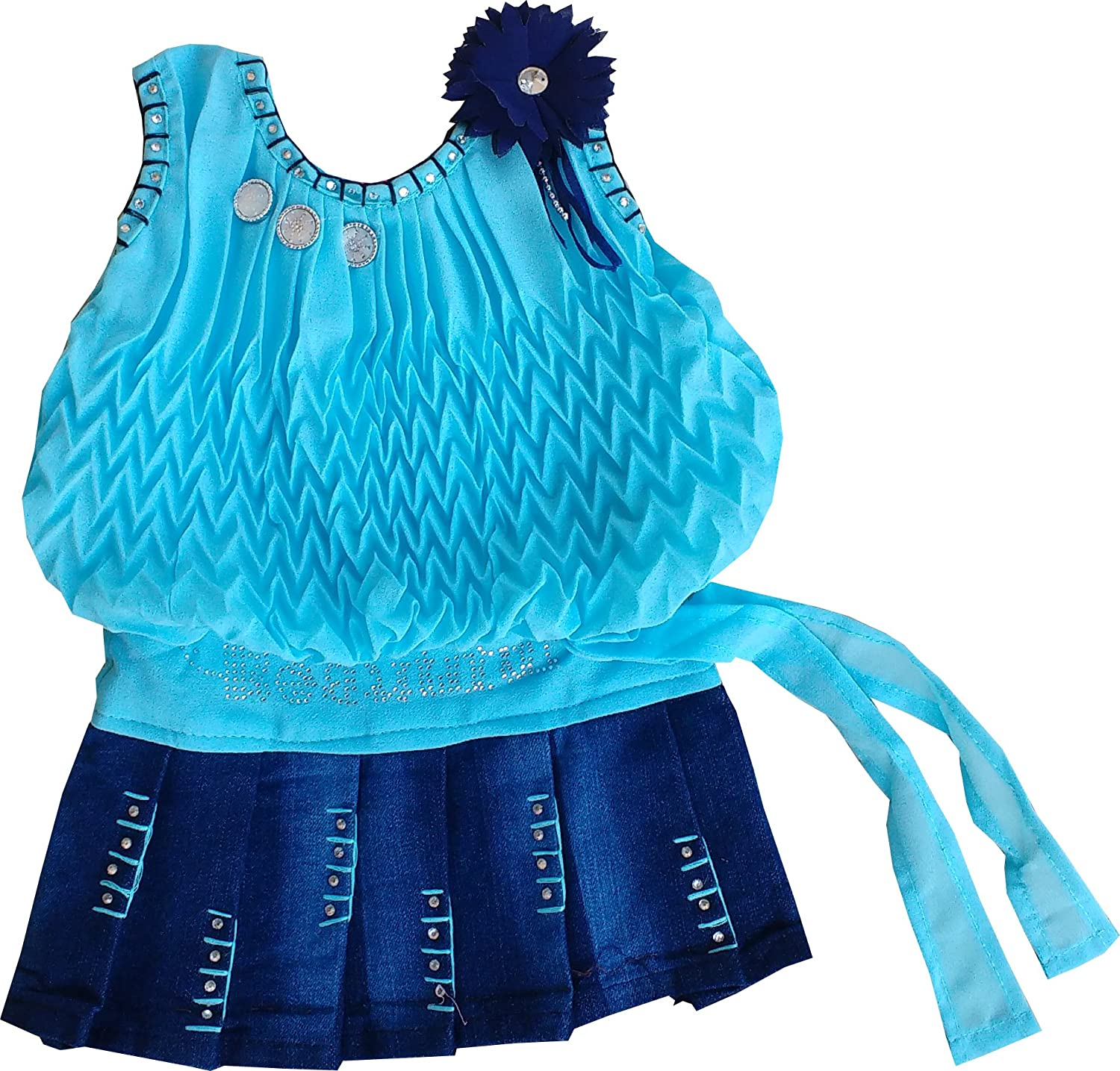 SNS Girl\'s Georgette and Jeans Frock (Ba200122_Blue_3-6 months ...