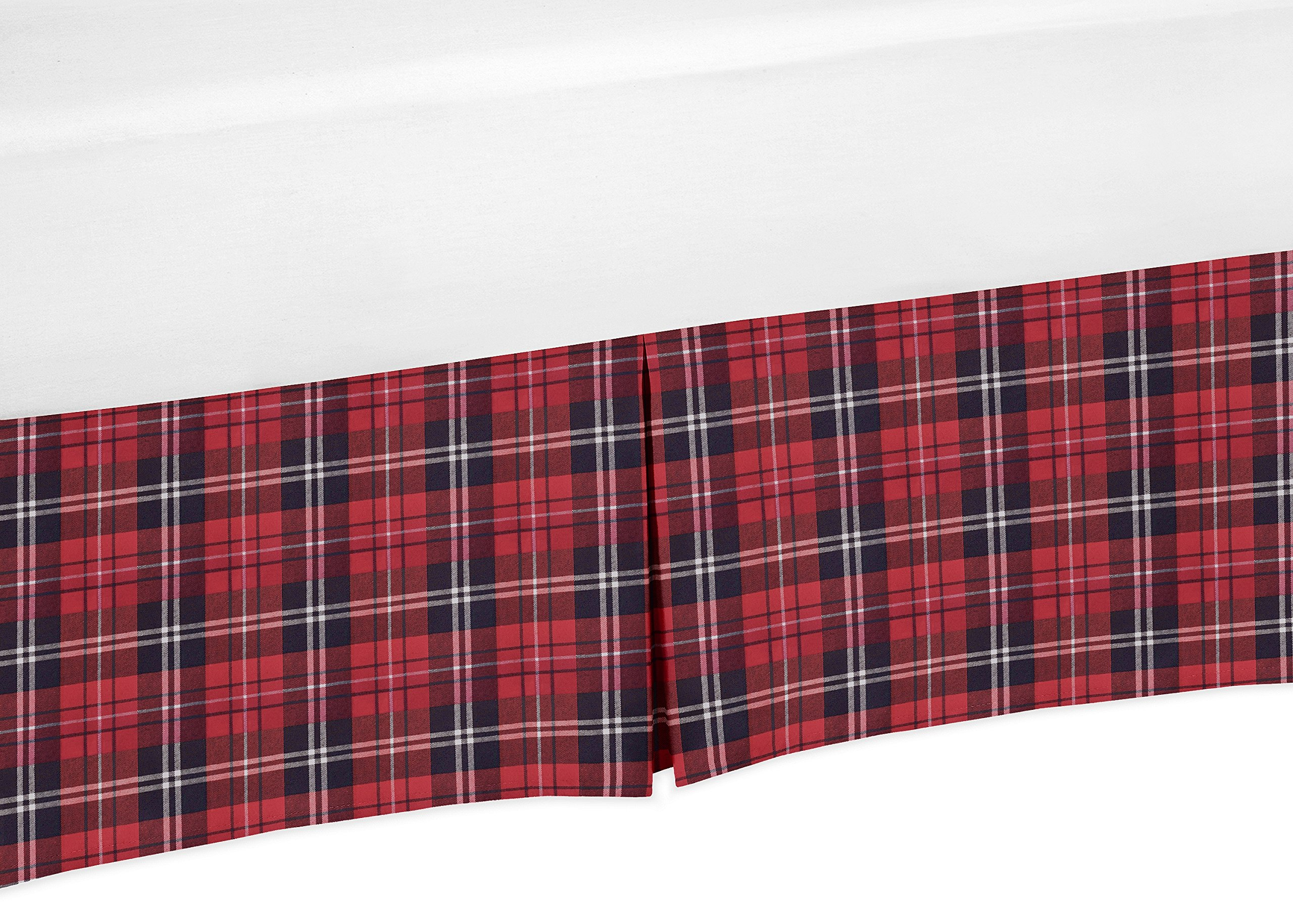 Sweet Jojo Designs Red and Black Woodland Plaid Baby Boy Pleated Crib Bed Skirt Dust Ruffle for Rustic Patch Collection - Flannel
