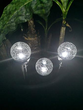4er Set Solarkugeln Crashglas Für Garten U Balkon Strahlende