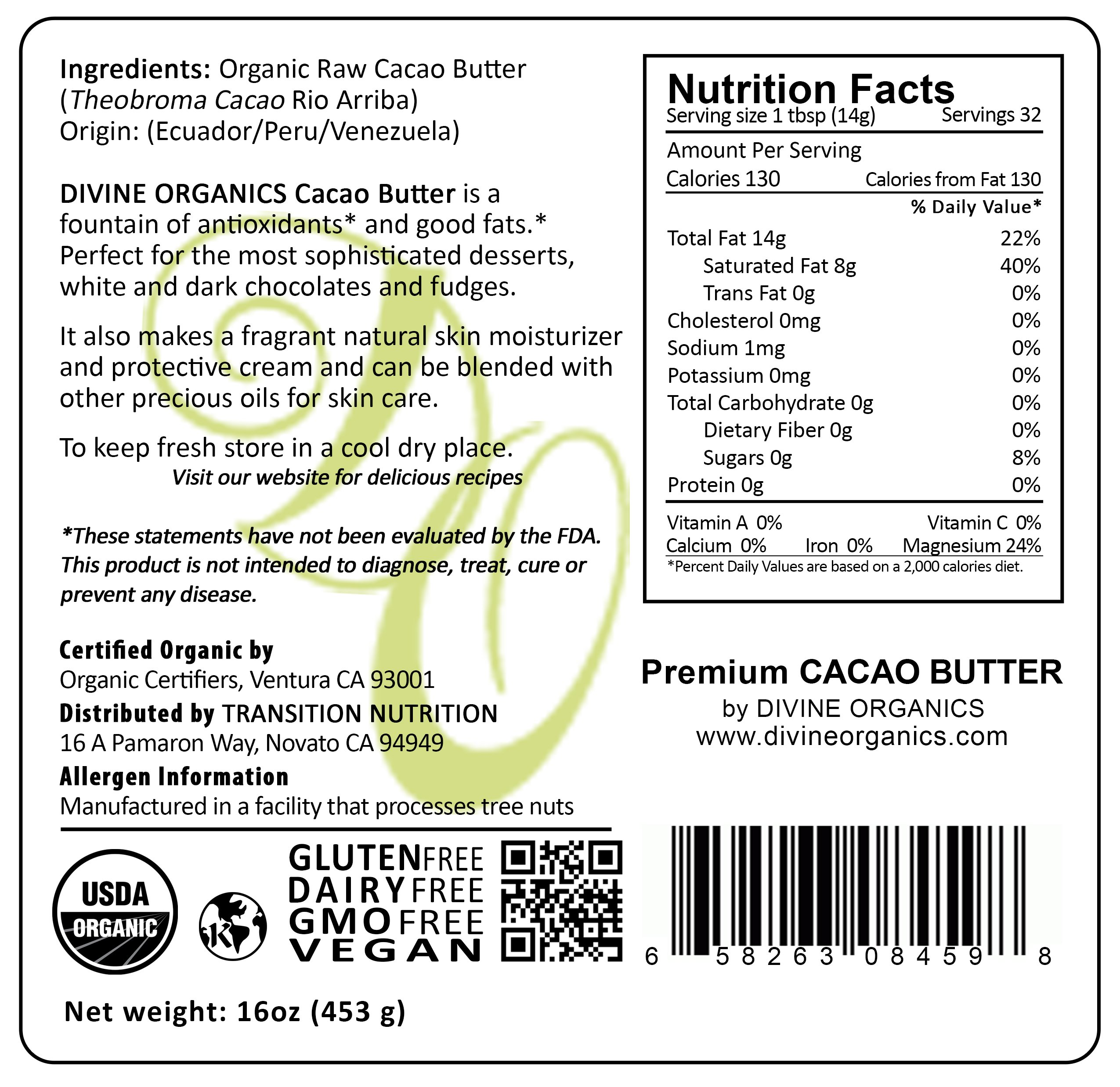 Divine Organics Raw Cacao Cocoa Butter - Certified Organic - Food Grade - Edible 16oz by Divine Organics (Image #3)