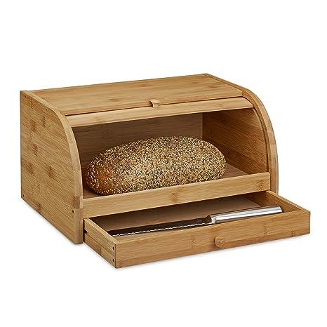 Relaxdays– Caja de Pan con Ruedas y cajones, de Madera de bambú,