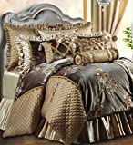 Jennifer Taylor Home 9 Piece Queen Size Embroidered Woven Plush Comforter Set, Multicolored/Gold Brown