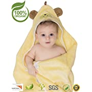 Premium Hooded Baby Towel, 100% Organic Bamboo, Free Baby Bib, Perfect Baby Shower Gift, 35x35  for Newborns Infants Toddlers & Kids, for Boys and Girls at Bath Pool & Beach, Better Than Cotton