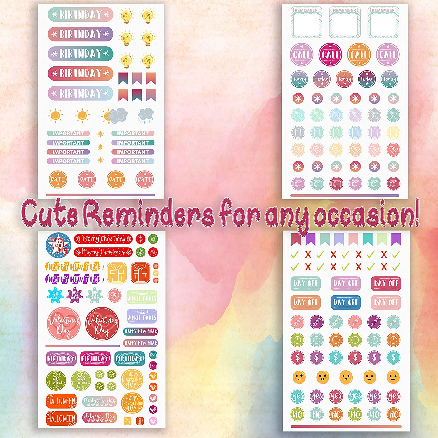Planner Stickers by Savvy Bee -Value Pack (830) 20 Sheets of Productivity,  Inspirational, Holiday, Fitness, Teacher stickers for Daily, Weekly, &