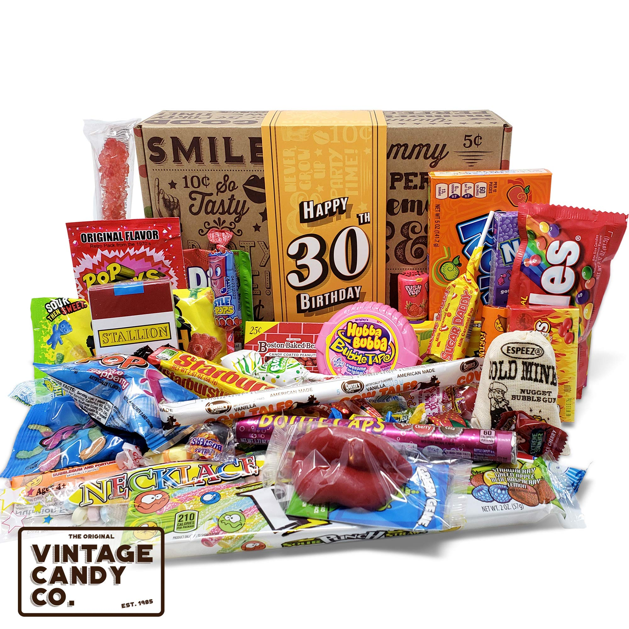 VINTAGE CANDY CO. 30TH BIRTHDAY RETRO CANDY GIFT BOX - 1989 Decade Childhood Nostalgic Candies - Fun Funny Gag Gift Basket - Milestone 30 THIRTIETH Birthday - PERFECT For Man Or Woman Turning THIRTY by Vintage Candy Co.