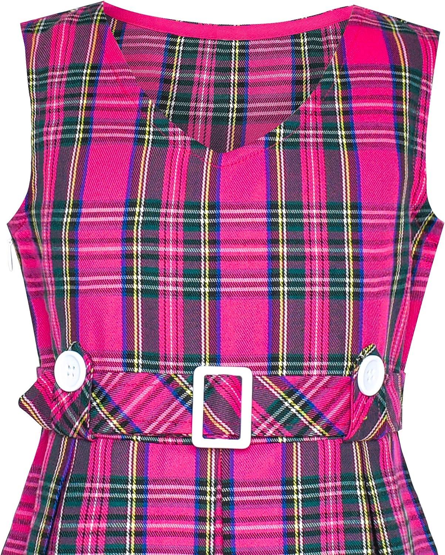 Sunny Fashion Girls Dress Khaki Button Back School Pleated Hem Age 6-14 Years