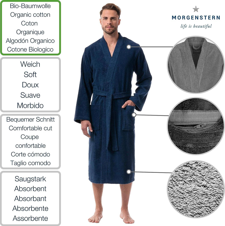 Morgenstern Bademantel Herren Kimonokragen Bio Baumwolle