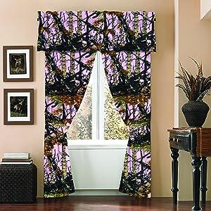 Regal Comfort The Woods Camo Curtain & Valance 5 Piece Drape Set Pink