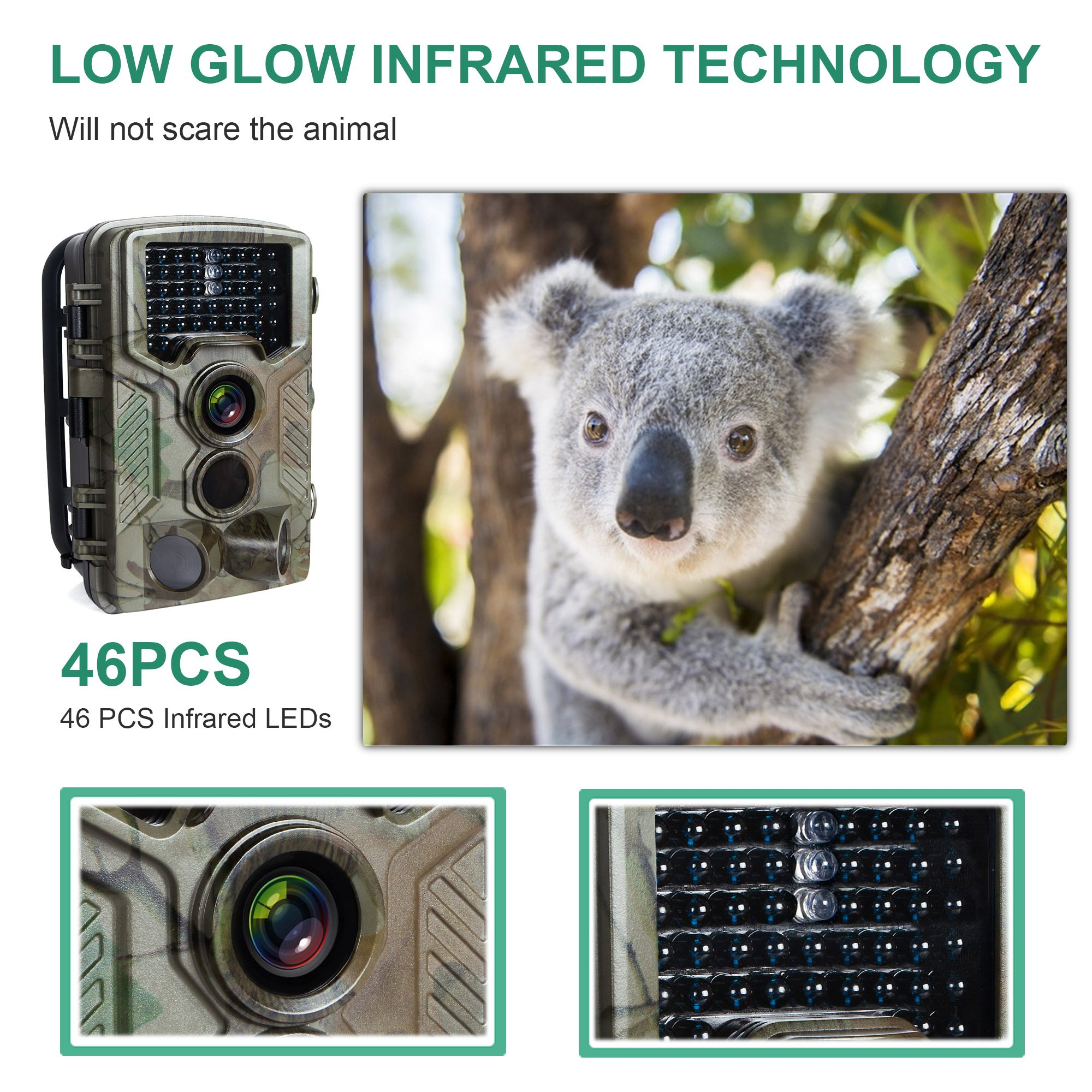 FLAGPOWER Hunting Trail Camera, 16MP 1080P 0.2s Trigger Time Wildlife Game Camera with 2.4'' LCD 850nm Upgrading IR LEDs Night Vision up to 75ft/2.3m IP56 Spray Water Protected Design by FLAGPOWER (Image #5)