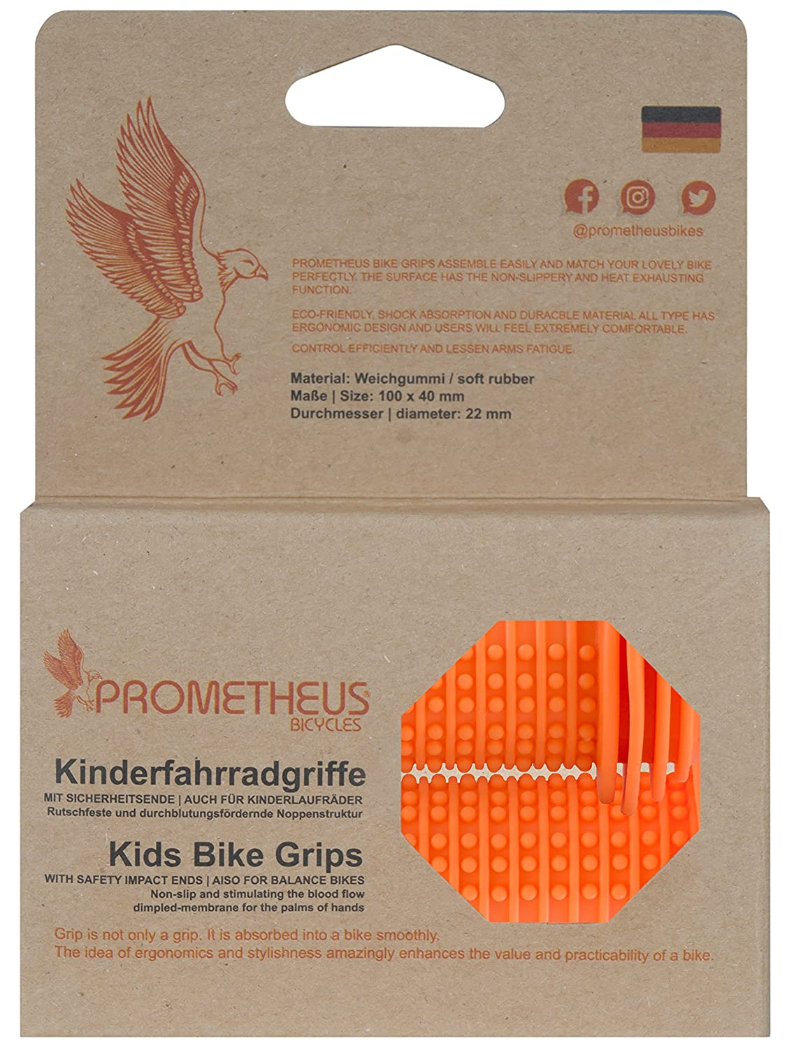 Child Safety Grip with SAFETY IMPACT ENDS Edition 2018 PROMETHEUS BICYCLES® 14TM300 22 mm Handlebar Grips also for balance bike and scooter with SAFETY BAR END PADS PROMETHEUS Kids Bike Grips 1 Pair