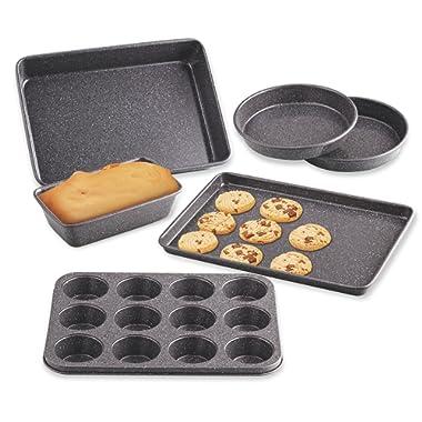 Cook N Home 02585 6-Piece Heavy Gauge, Cake/Cookie/Muffin/Loaf Nonstick Bakeware Set, Black