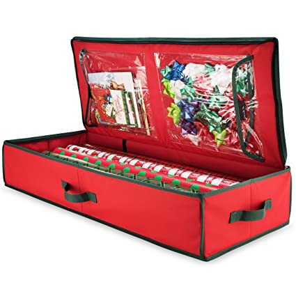 Zober Premium 600D Oxford Christmas Gift Wrap Storage Box With Inside  Pockets, For Wrapping Paper