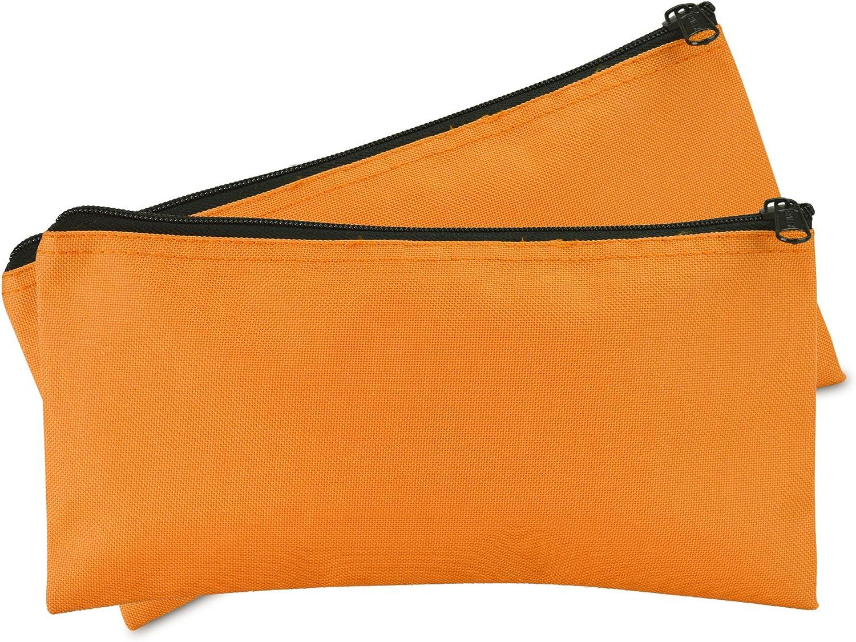 DALIX Bank Bags Money Pouch Securi Deposit Utility Zipper Coin Bag Orange 2 Pack