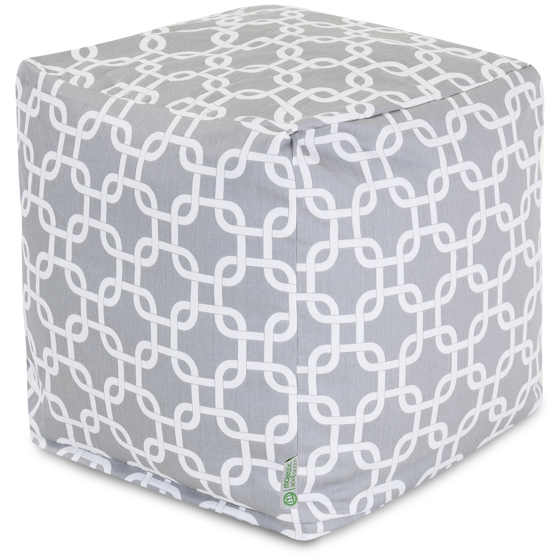 Majestic Home Goods Links Indoor/Outdoor Bean Bag Ottoman Pouf Cube, 17'' x 17'' x 17'' (Gray)