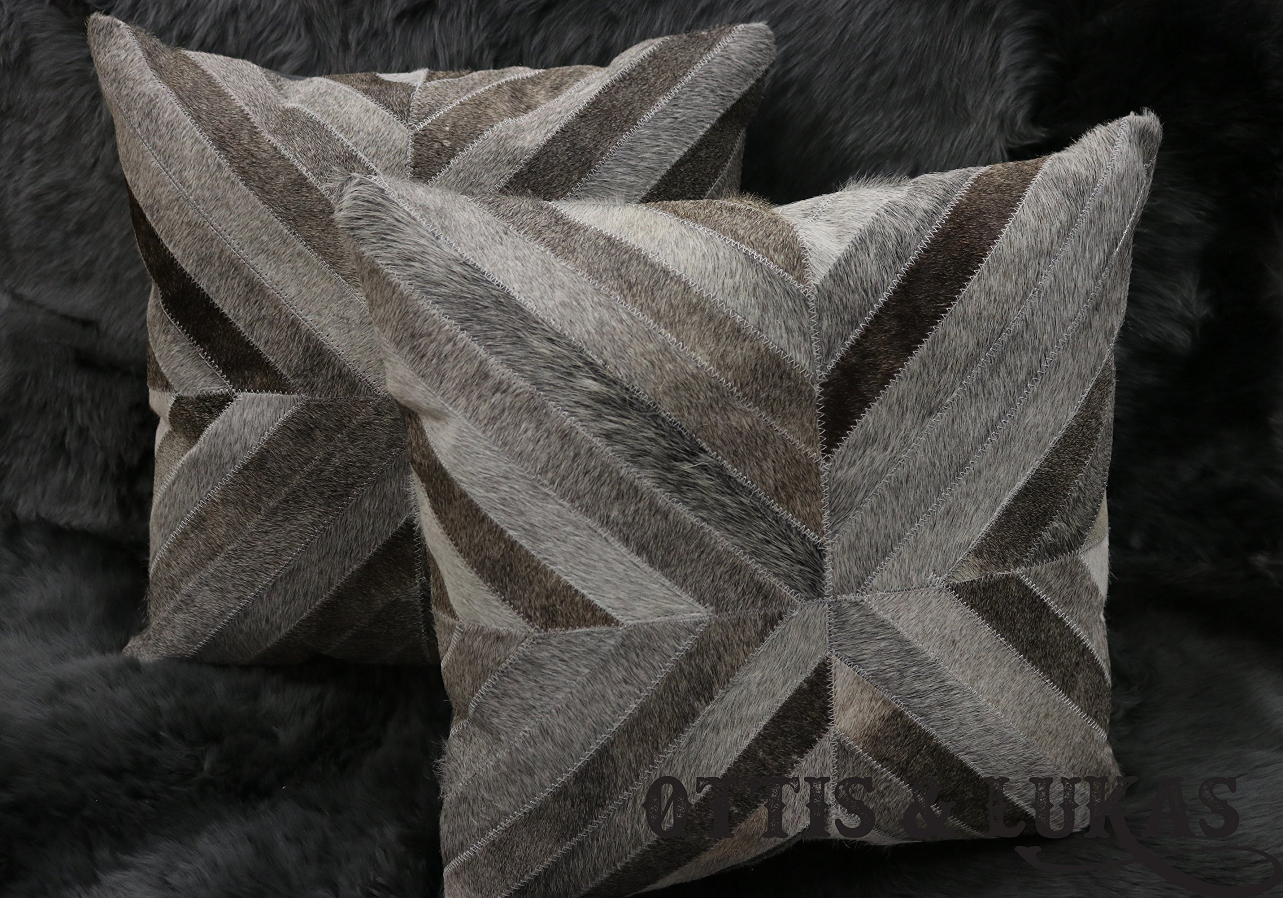 Set Patchwork Cowhide Pillows 18'' x 18'' Genuine Animal Skin - Hand pieced and patched by Skilled Artisans - Polyester Fiberfill Include