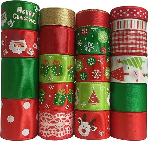 Christmas Ribbon Garland Wreath Bows 20 Styles 60 Yards New Year Patterned Ribbon Trimmings Trim by the Yard Christmas Mix Ribbon Set