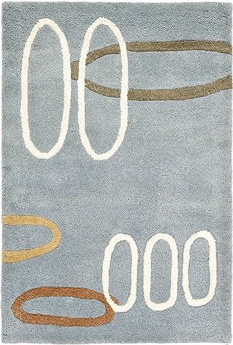 Safavieh Soho Collection SOH801B Handmade Modern Abstract Blue and Multi Premium Wool Area Rug 2 x 3