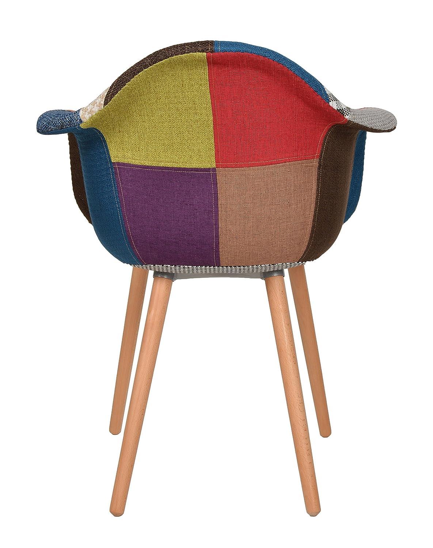 Excellent X Design Klassiker Patchwork Sessel Retro Er Jahre Barstuhl  Wohnzimmer Kchen Stuhl Esszimmer Sitz Holz Leinen Bunt Amazonde Kche U  Haushalt With.