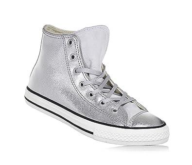 6b8a4f8b61b39 Converse Sneaker à lacets argent en cuir brillant
