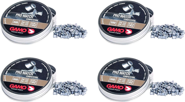4 latas de 500 perdigones copa Diabolo Pro-Match Competición. Calibre 4,5mm. Modelo Gamo 321834
