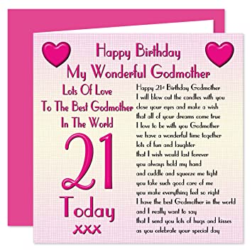 Godmother 21st Happy Birthday Card Lots Of Love To The Best