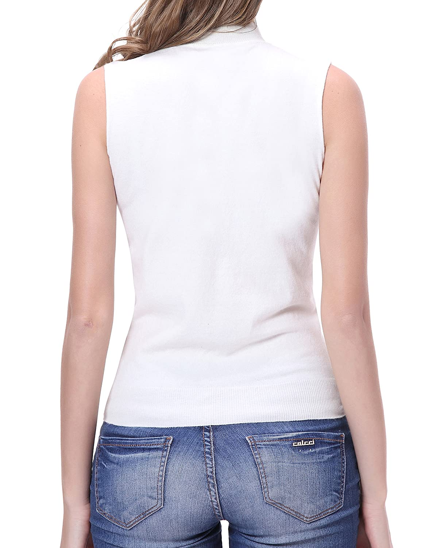 Sleeveless Ribbed Sweater U.mslady Womens Turtleneck Tunic Tank Top