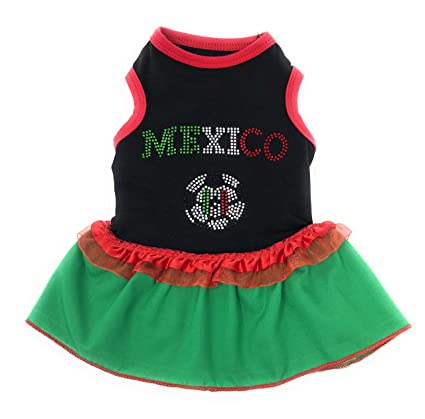 Chaya Dog Clothes Mexico World Soccer Dress Green for Small Dogs ((USA SELLER)